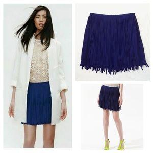 FREEWAY NWT Blue Fringe Skirt Size M